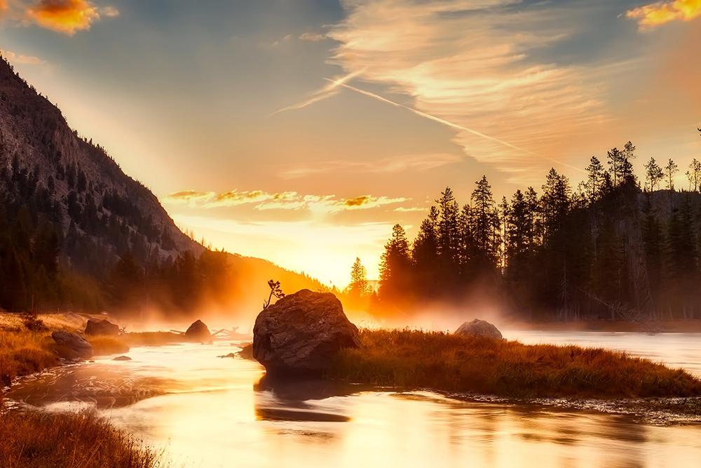mountains lake water sunset orange